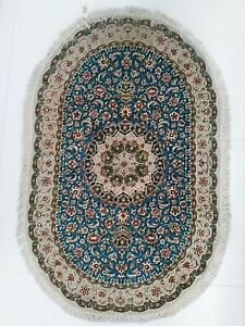 PERSIAN ART EXHIBITION PAIR OF EXTRA FINE GHOME 100% SILK RUG OVAL