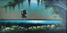 "James Gibson, Oil on Upson board, 24"" x 48"", ca. 1965, Moonlit Palm, Highwaymen"