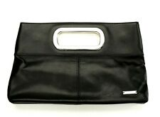 Original Ted Baker Small Magnetic Black Clutch Bag Faux Leather