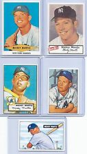 """MICKEY MANTLE 1951 BOWMAN/1952 TOPPS ROOKIE CARD REPRINT """"5"""" CARD LOT! YANKEES!"""
