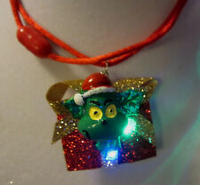 BIG Ugly Sweater GRINCH NECKLACE Tacky Blinking Christmas Nora's USA handcrafted
