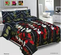 Romorus Duvet Cover Set, Quilted Cover With Pillow Cases & Fitted Sheet All Size