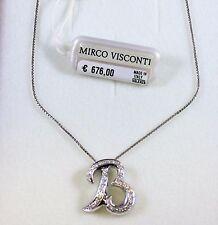 """Collier in oro bianco 18kt 750/°°° iniziale """"B"""" con Diamanti MIRCO VISCONTI"""