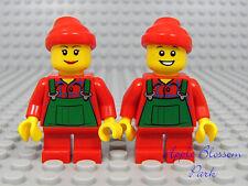 NEW Lego CHRISTMAS BOY & GIRL ELVES - Santa Helper Elf Minifigs w/Red Short Legs