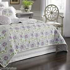 "Dena French Lavender King Tailored Bedskirt White Purple 15"" Drop Dust Ruffle"