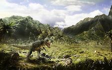 Encadrée Imprimer-T-Rex Dinosaure sur la chasse (Photo Poster art Trias JURASSIC)