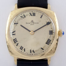 Baume & Mercier Φ 18k Yellow Gold Cushion Men's Watch w/ Black Leather Band