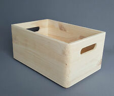 Plain Wood Box Storage Handel Wooden Boxes 30x20x14cm Craft Keeping Home Decor