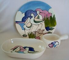 POTTERY Vntg Set of 3 PLATTER, BOWL & DIP Dish HANDCRAFTED Seagulls CRANES BEACH