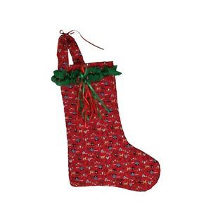 Quilted Handmade Christmas Stocking Green Red Blue Lace Ribbons Amish Country