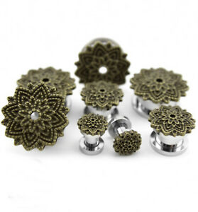 PAIR-Lotus Vintage Brass Flower Steel Screw On Ear Tunnels 08mm/0 Gauge Body Jew