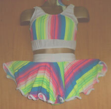 NEON arcobaleno/a Righe Lycra Rock and Roll Costume di 11/12 anni