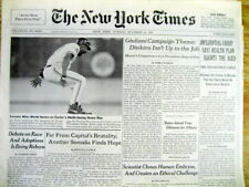 1993 NY Times newspaper TORONTO BLUE JAYS win baseball WORLD SERIES on Carter HR