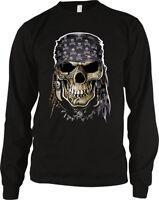 d31525b61 Rebel Skull Bandanda Skeleton Head Motorcycle Gang Long Sleeve Thermal