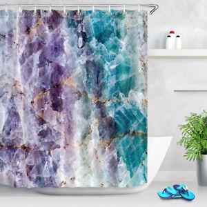 "72x72"" Purple & Turquoise Quartz Shower Curtain Waterproof Fabric Bathroom Hooks"