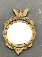Antique FEDERAL EAGLE CONVEX MIRROR Carved GILTWOOD ~ 13 Colonies / 19th Century