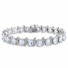 Amour Sterling Silver Aquamarine and Diamond Accent Tennis Bracelet