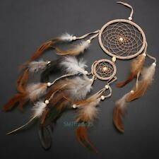 Handmade Double Ring Dream Catcher with feather Wall Hanging Home Car Decor Gift