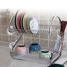 2 Tiers Kitchen Plate Dish Cutlery Drainer Rack Drip Tray Holder Chrome Storage