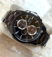Seiko Solar Men's Chronograph SSC095 Watch Eco Black Band Silver Alarm Steel WR