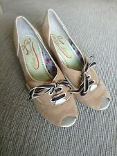 Poetic Licence By Irregular Choice Beige Wedge Lace Up Sailor Heels 37 4