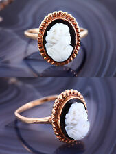 ANTIQUE 10K Gold CAMEO RING Black & White Cameo Onyx VTG Victorian Size 8.5
