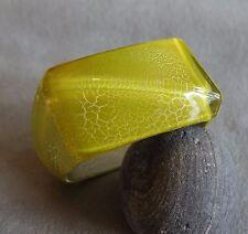 VTG Huge Lemon Crackle Lucite Asymmetric~Lightning Bolt~Modernist Bangle~40 mm