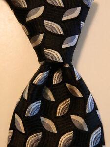 ROBERT TALBOTT Carmel Men's 100% Silk Necktie Luxury Geometric Black/Gray EUC