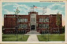 VTG 1940 Senior High School American Flag in Brownwood Texas TX Postcard