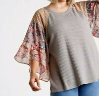 New Umgee Top XL Waffle Knit Floral Paisley Ruffle Sleeve Boho Peasant Plus Size