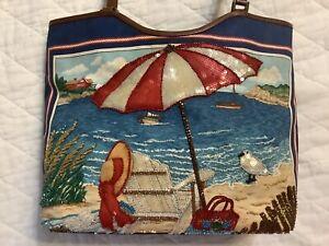Isabella Fiore Colorful beaded Beach Scene/Lighthouse handbag