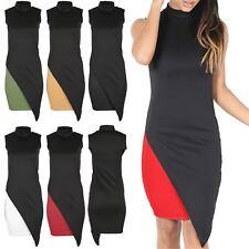 Womens Turtle Polo Bodycon Ladies Asymmetric Cut Out Ladies Top Midi Dress