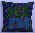 "16"" INDIAN FLORAL CUSHION PILLOW COVER Kantha Patchwork Throw Decor Embroidery"