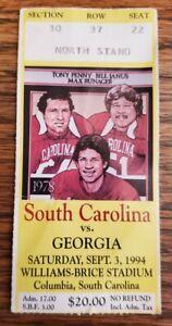 South Carolina Georgia Bulldogs Football Ticket Stub 9/3 1994 RB Terrell Davis