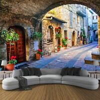 Street View Wallpaper Backdrop Italian Town Photo Non Woven Murals For Interiors