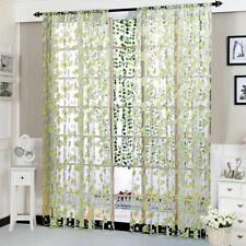 Floral Tulle Voile Light Green Window Curtain Drape Panel Sheer Curtain