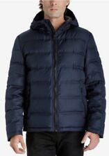 Michael Kors Lightweight Premium Down Jacket Puffer Hood Midnight Blue L $225