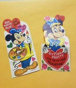 2 Vintage Die cut 1950s Disney Valentine's Day Cards Mickey Mouse & Minnie Mouse
