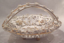White & Gold Porcelain Criss Cross Handle Basket Heavily DECORATED Made in ITALY
