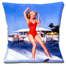 "NEW GIL ELVGREN PINUP VINTAGE RETRO 'WATER SKIING LADY' 16"" Pillow Cushion Cover"