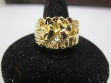 SIZE 12 MENS 14KT GOLD EP  DESIGNER NUGGET SQUARED OFF STYLE RING STYLE 2
