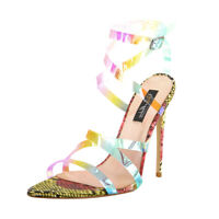 Onlymaker Women's Iridescent Snake High Heel Criss-Cross Strap Sandals Stilettos