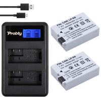 2 LP-E8 Camera Battery LPE8 + LCD Dual Charger For Canon EOS 550D 600D 650D 700D