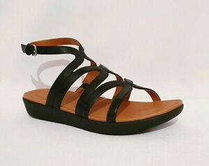 $120 size 8 Fitflop Strata Gladiator Black Leather Strappy Flat Womens Sandals