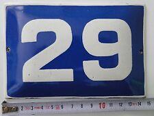 VINTAGE Enameled Porcelain  Tin  Sign  House/Door  Number 29 -5.8 in/3.8 inAF