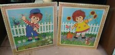 Pair of Raggedy Ann & Andy Gardening Wall Plaques Lyn