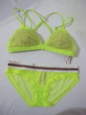 NWT Victoria's Secret Neon Yellow (S) Strappy Crochet Lace Bralette (XS) Bikini