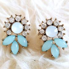 Womens Cute Lovely Blue Gems Leaves Rheinstones Flower Stud Pin Pierced Earrings