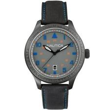 Mens Watch NAUTICA BFD 105 A11110G Leather Black Gray Sub 100mt NEW