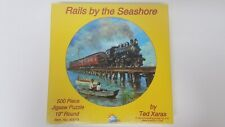 """NEW - """"Rails By The Seashore"""" Round Jigsaw Puzzle 500 Piece SunsOut 60018"""